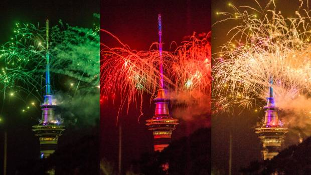 The many colours of the fireworks from the Sky Tower in Auckland at midnight on 2015 New Year's Eve.