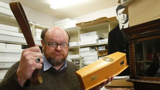 Archivist Jeff Elston has some quirky finds at the Timaru Boys' High School Memorial Library, including a coffin for a ...