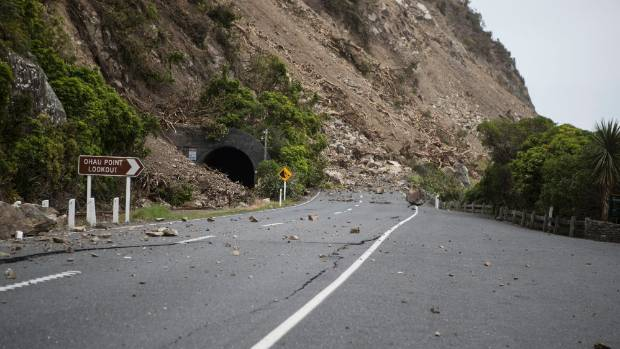 The Ohau Point slip, which contractors will approach from both the Kaikoura and Clarence ends of the highway to clear.