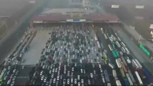 Thousands of cars stranded in traffic jam after New Year holiday in China.