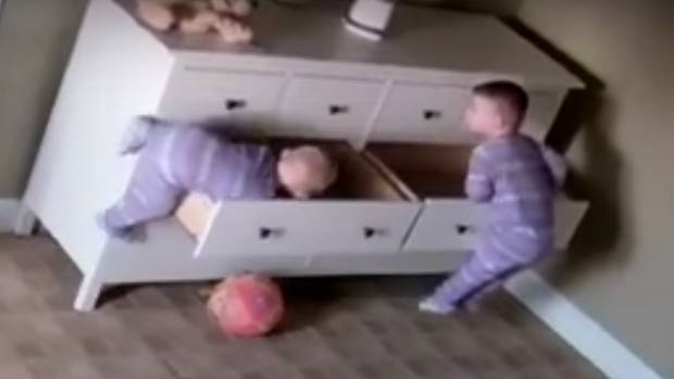 Toddler Saves Twin Brother After Chest Of Drawers Falls On