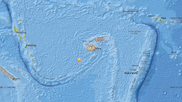 Earthquake strikes waters in eastern Fiji