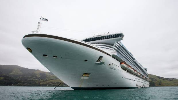 Cruise ship Emerald Princess parked in Akaroa Harbour with about 3000 passengers.