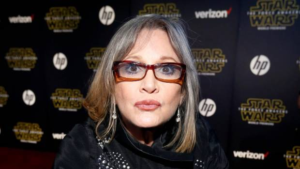 Carrie Fisher at the premiere of Star Wars: The Force Awakens in December 2015.