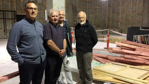 Health Hub Project co-founder Andrew Nolan, left, Te Aroha Noa chief executive Bruce Maden, and fellow co-founders David ...