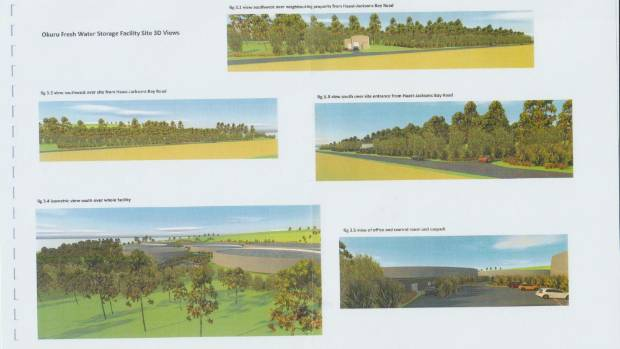 Renderings of the proposed water export facility at Neil's Beach, near Haast.