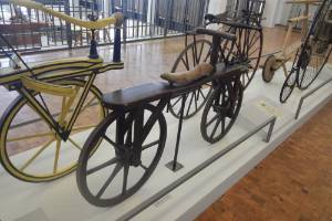 Some of the early bicycles on display at the Technoseum in Mannheim, Germany.