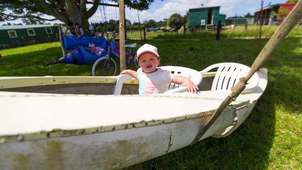 Indy Murray, 1, had a go in the canoe swing.