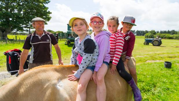 """""""Baby"""" the cow had no problems giving Billie Stennin, 5, Ruby Stenning, 7, Summer Aiono, 5, and Jahvys Page, 7, a ride."""