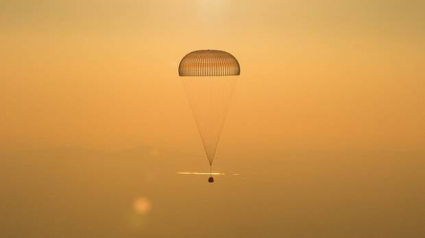 The Soyuz TMA-20M spacecraft is seen as it lands in September 2016.