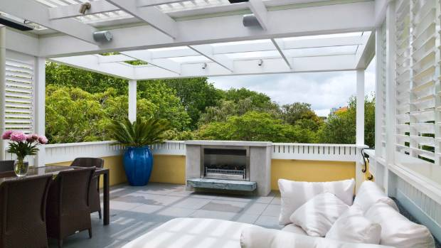 Featured on the outdoor terrace is a gas fire, a Louvretec loggia, panel heating and even speakers for playing music.