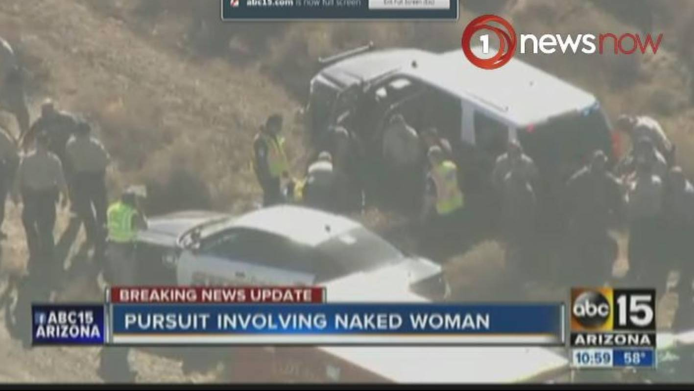 Naked woman steals police car, hits 100 mph in 75-mile