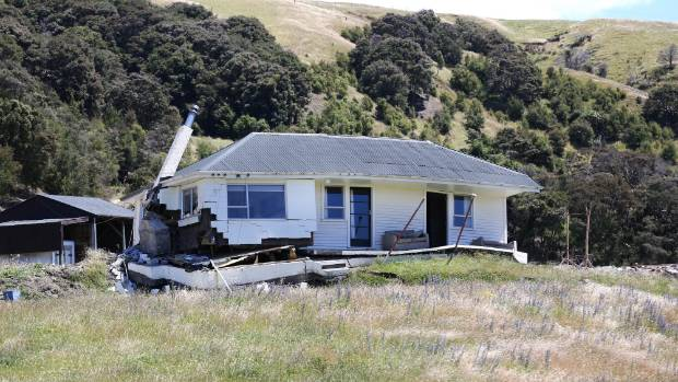 An earthquake-damaged house on Kekerengu Valley Rd, which was sitting on top of a fault line.