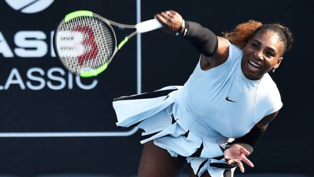 Serena Williams was defeated by the wind, and her opponent, at the  ASB Classic in Auckland.