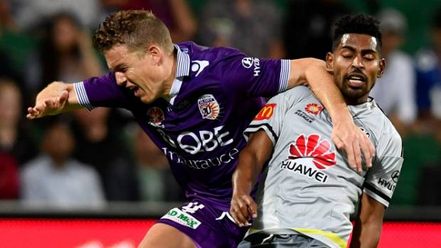 Roy Krishna of the Wellington Phoenix was sent off for his tackle on Shane Lowry of the Perth Glory.