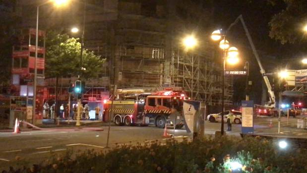 Fire at crowne plaza hotel construction site in for Landscape contractors christchurch