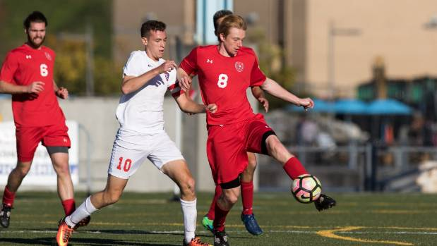Francis de Vries, right, in action for Saint Francis University.