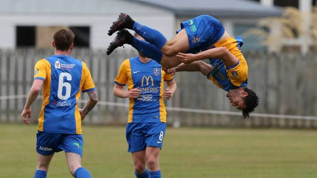Southern United's Eric Molloy celebrates scoring against Hamilton Wanderers.