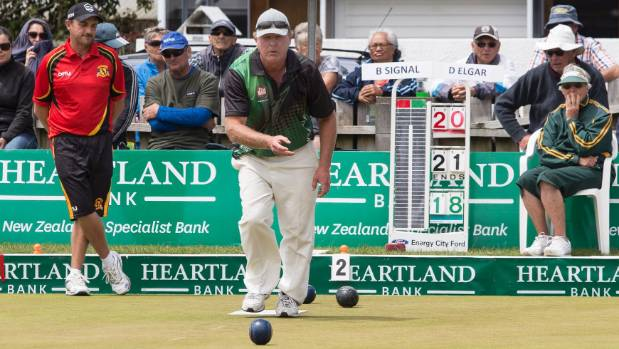 West End's Dean Elgar won the men's singles title at the New Zealand Bowls Championships.