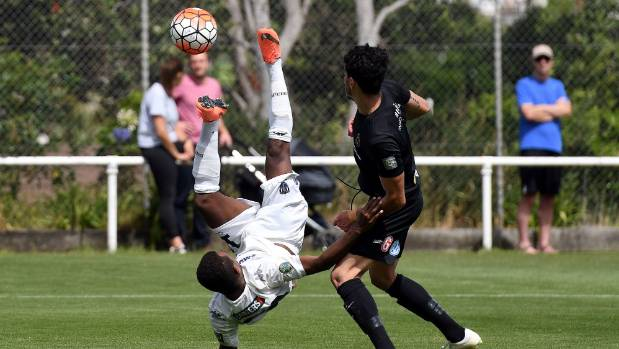Auckland City's Micah Lea'alafa attempts an acrobatic bicycle kick against Team Wellington on Sunday.