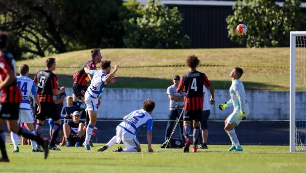 Canterbury United striker Stephen Hoyle scores the game-winning goal with just seconds left to spare in their 3-2 ...