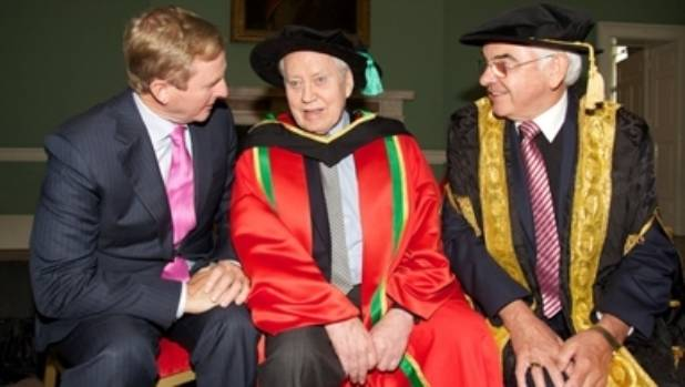Chuck Feeney (middle) was conferred an honorary Doctorate of Laws by nine Irish universities in 2012.