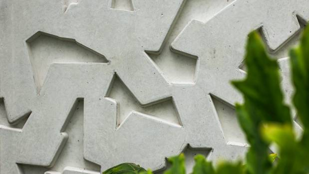 The textured concrete wall of the Ilex Cafe in the Christchurch Botanic Gardens adds interest to the interior.