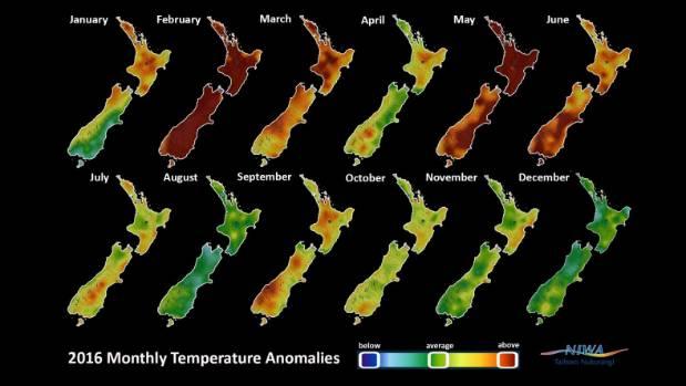 Temperature anomalies for 2016.