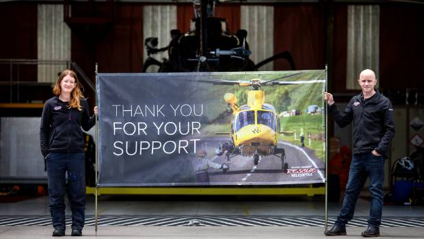Taranaki Community Rescue Helicopter crew member Sarah Sharp and manager Andy Cronin show their gratitude to the ...