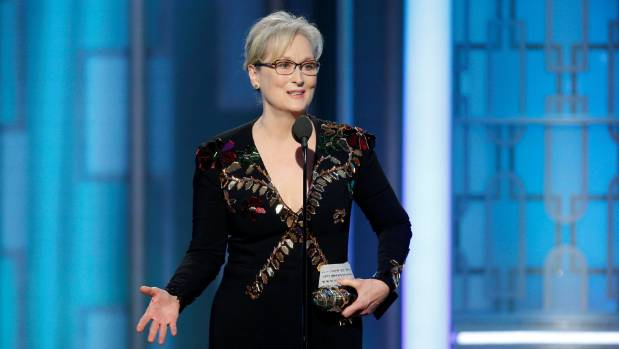 Actress Meryl Streep accepts the Cecil B. DeMille Award during the 74th Annual Golden Globe Awards.
