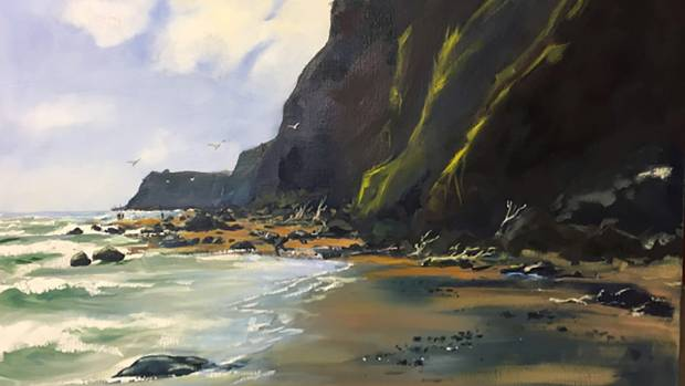 Whanganui MP Chester Borrows' landscape piece of Ohawe Beach ahead of his March exhibition at the Lysaght Watt Gallery ...