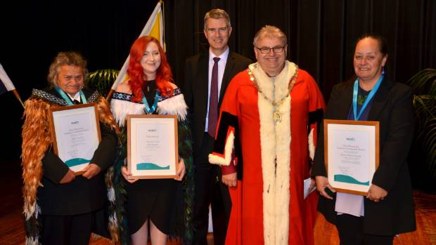 Volunteers recognised at the 2016 Hutt City Council Civic Awards, from left, Lorraine (Missy) Awatere, Alex Bengree, ...