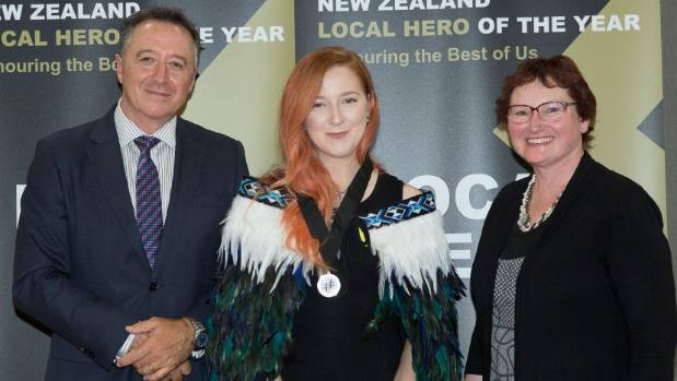 Alex Bengree, centre, says she was completely surprised to be awarded a 2016 Kiwibank Local Hero award.