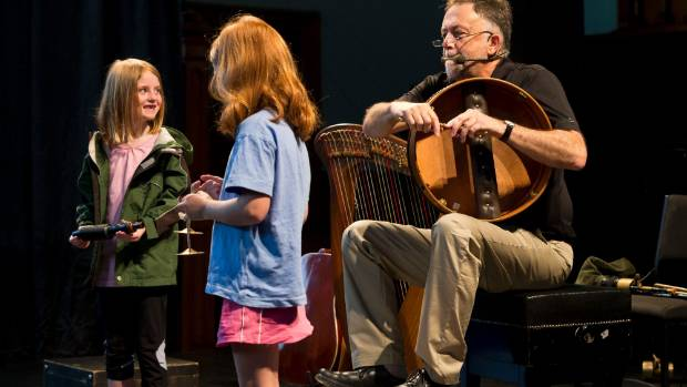 Natalie Mitchell, 7, left, and Rowan McFadden, 7, with Bob Bickerton at last year's Adam Chamber kids concert at Old St ...