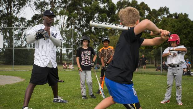 New York Yankees shortstop Didi Gregorius coached a skills clinic with junior baseball players at Avonhead Park on Tuesday.