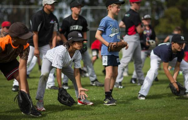 Jai Pouaka-Grego, 8, during the baseball skills clinic lead by New York Yankees shortstop Didi Gregorius.