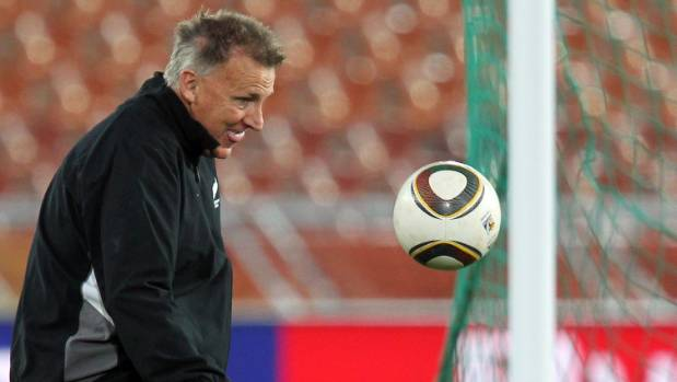 New Zealand assistant coach Brian Turner juggles a ball at All Whites training in Polokwane during their 2010 Fifa World ...