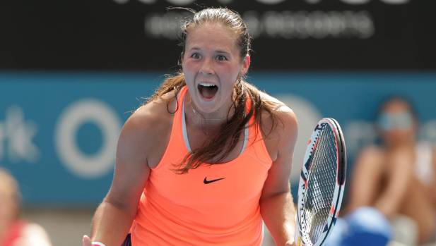 Daria Kasatkina of Russia celebrates her victory over Angelique Kerber at the Sydney International.