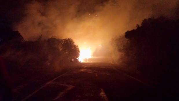 Glenorchy Rd was closed from Bob's Point to Mt Creighton, with about 50 firefighters from around the region battling the ...