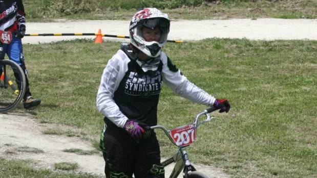 Canterbury BMX Champs, Tamryn Hurren-Webster, Dunedin, Post Race, Matthew Salmons. PHOTO: Dunedin's Tamryn ...
