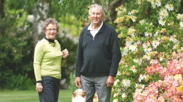 Catherine and Alan Trott in their Ashburton garden.