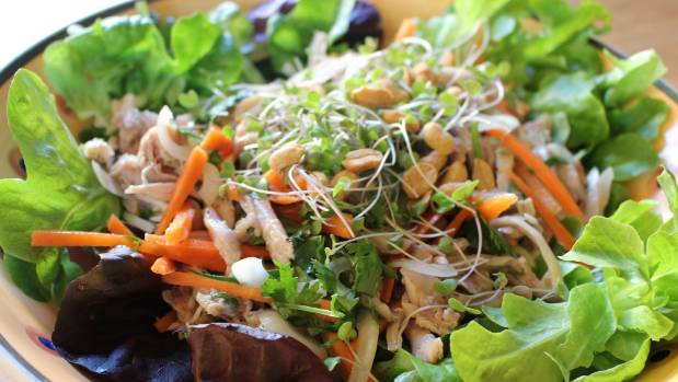 This chicken salad is from the north of Vietnam, and can be enhanced by adding more vinegar to the sauce.