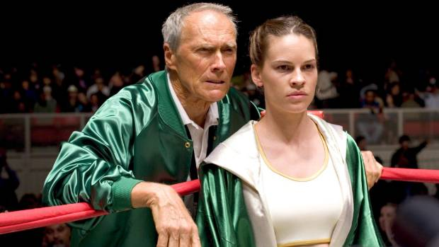 Clint Eastwood with actress Hilary Swank in the 2004 film Million Dollar Baby.