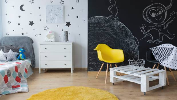 Blackboard walls and decals are two ways to fire up young imaginations.