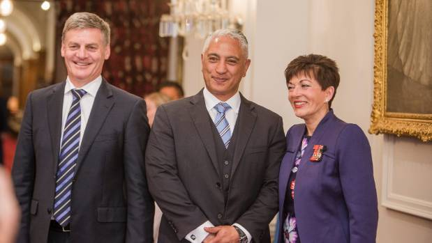 Minister Alfred Ngaro with the Prime Minister and Governor-General Dame Patsy Reddy, after having been sworn into ...