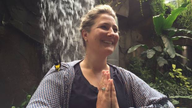 Otago Museum public engagement manager Rachel Cooper strikes a yoga pose (with the help of two butterflies) in Dunedin's ...