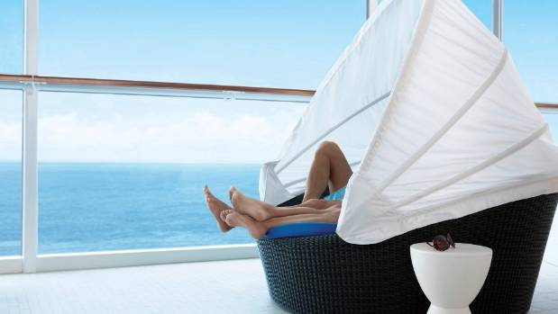 Relaxing on the Celebrity Equinox cruise ship.