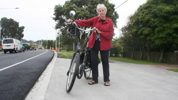 Elaine Engman on her new driveway, where she fell on New Year's Eve.