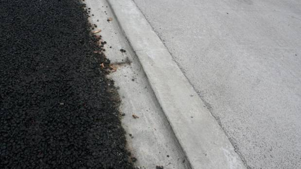 The driveway lip that has caught out cyclists along Te Moana Rd, near the new Kapiti Expressway interchange.