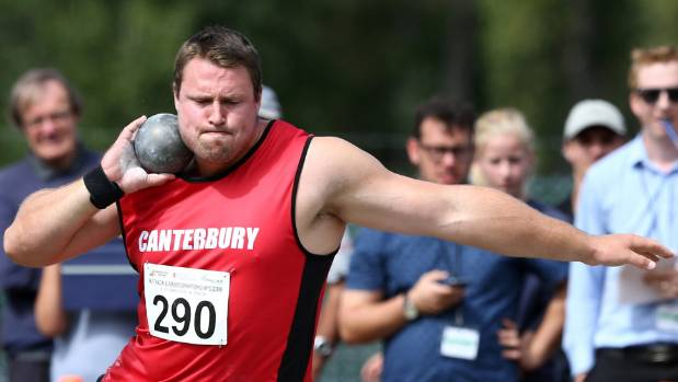 Tom Walsh in action during last year's national track and field championships in Dunedin.